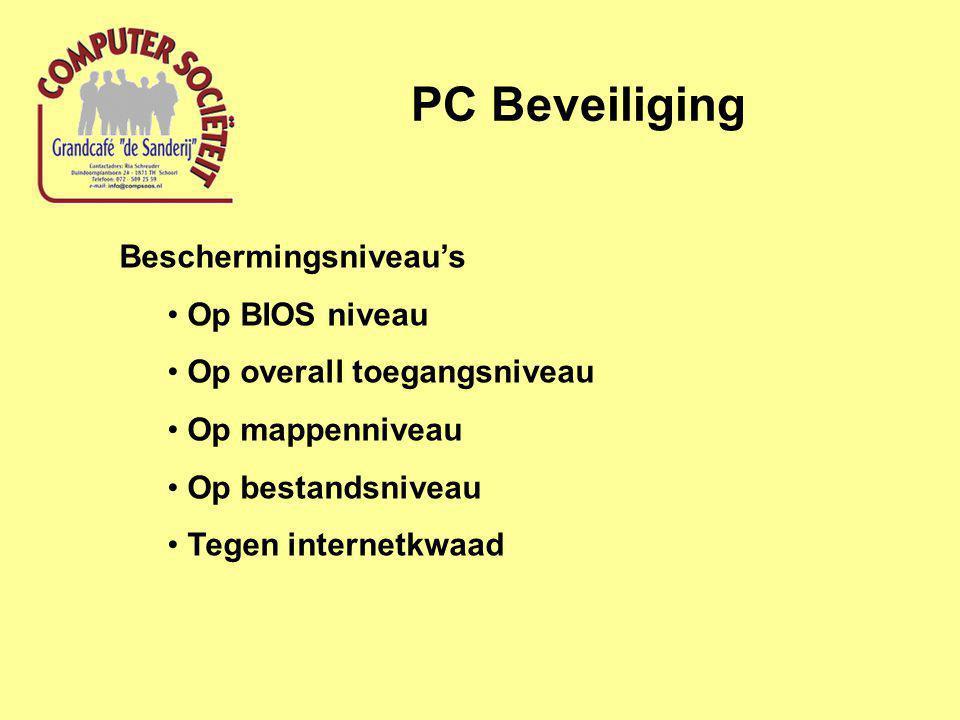 PC Beveiliging Beschermingsniveau's Op BIOS niveau Op overall toegangsniveau Op mappenniveau Op bestandsniveau Tegen internetkwaad