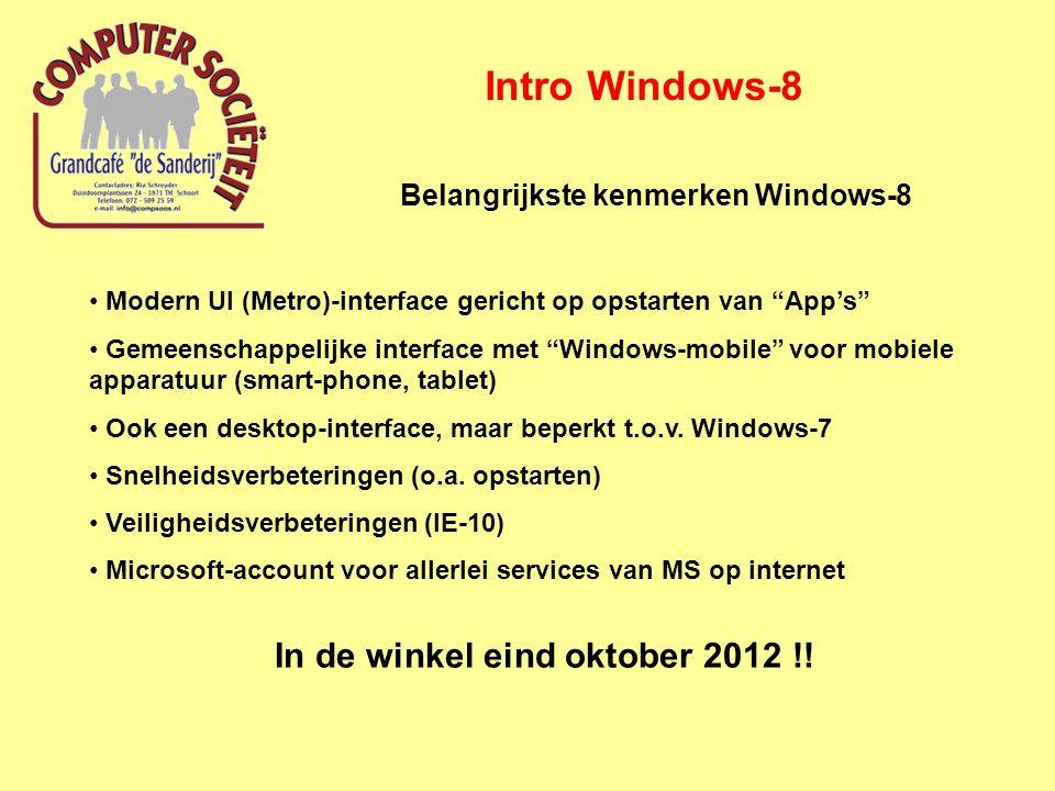 Intro Windows-8 Belangrijkste kenmerken Windows-8 Modern UI (Metro)-interface gericht op opstarten van App's Gemeenschappelijke interface met Windows-mobile voor mobiele apparatuur (smart-phone, tablet) Ook een desktop-interface, maar beperkt t.o.v.