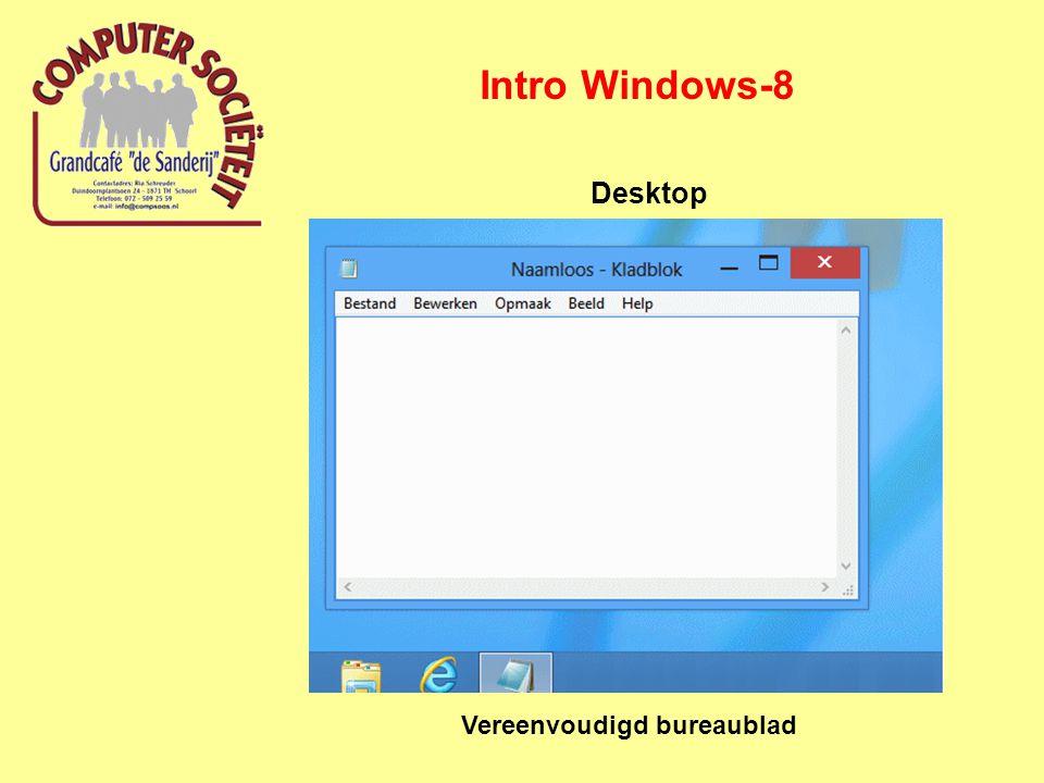 Intro Windows-8 Desktop Vereenvoudigd bureaublad