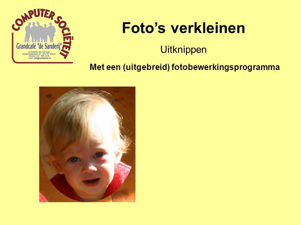 Foto's verkleinen Uitknippen Met een (uitgebreid) fotobewerkingsprogramma