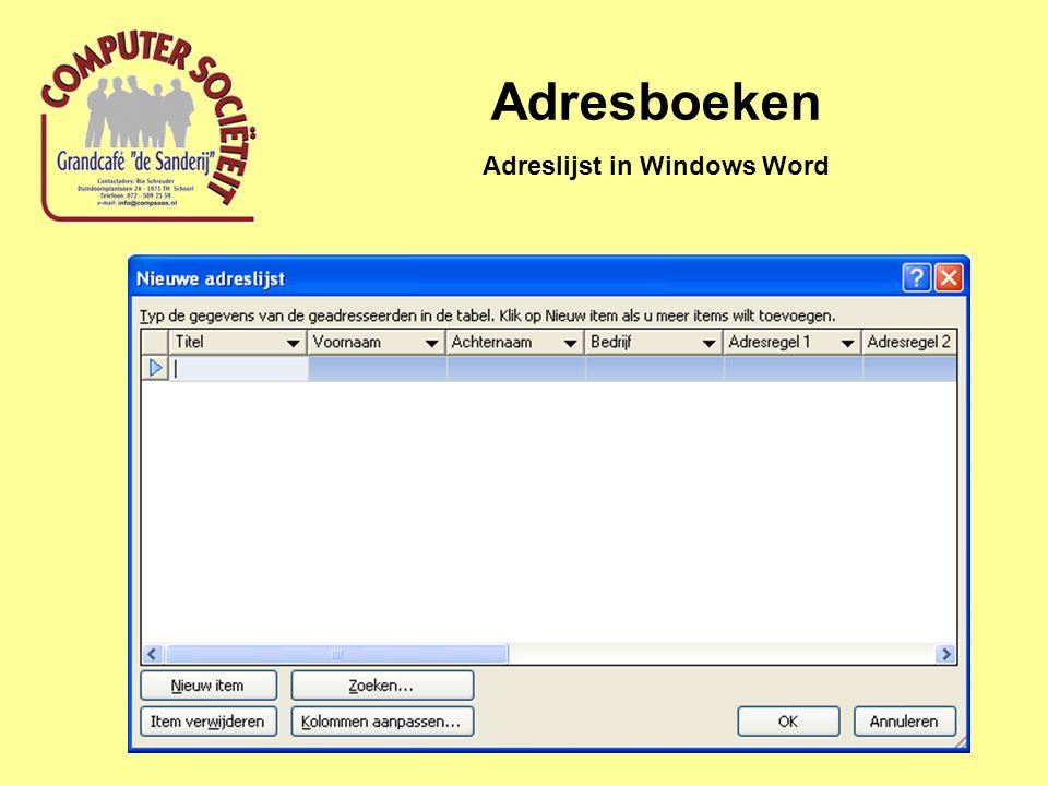 Adresboeken Adreslijst in Windows Word