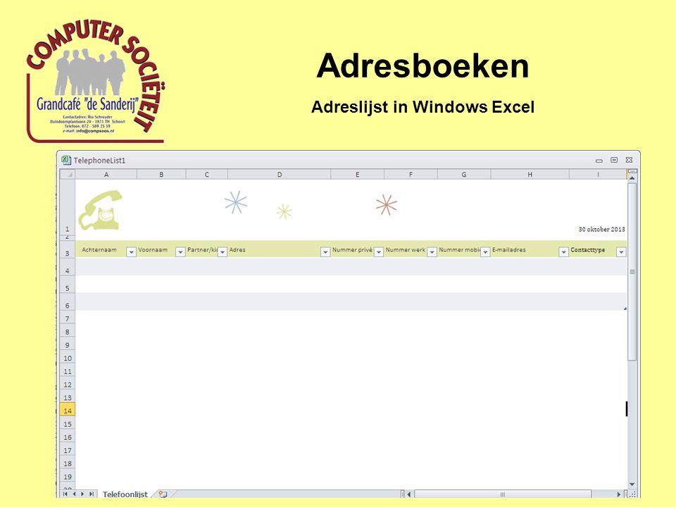 Adresboeken Adreslijst in Windows Excel