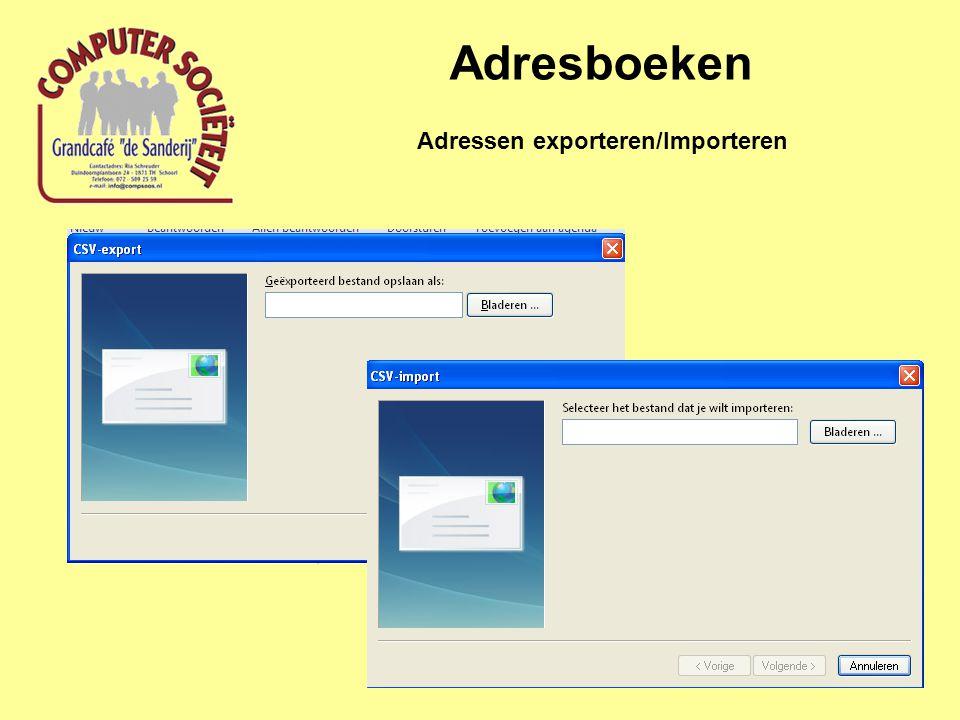 Adresboeken Adressen exporteren/Importeren