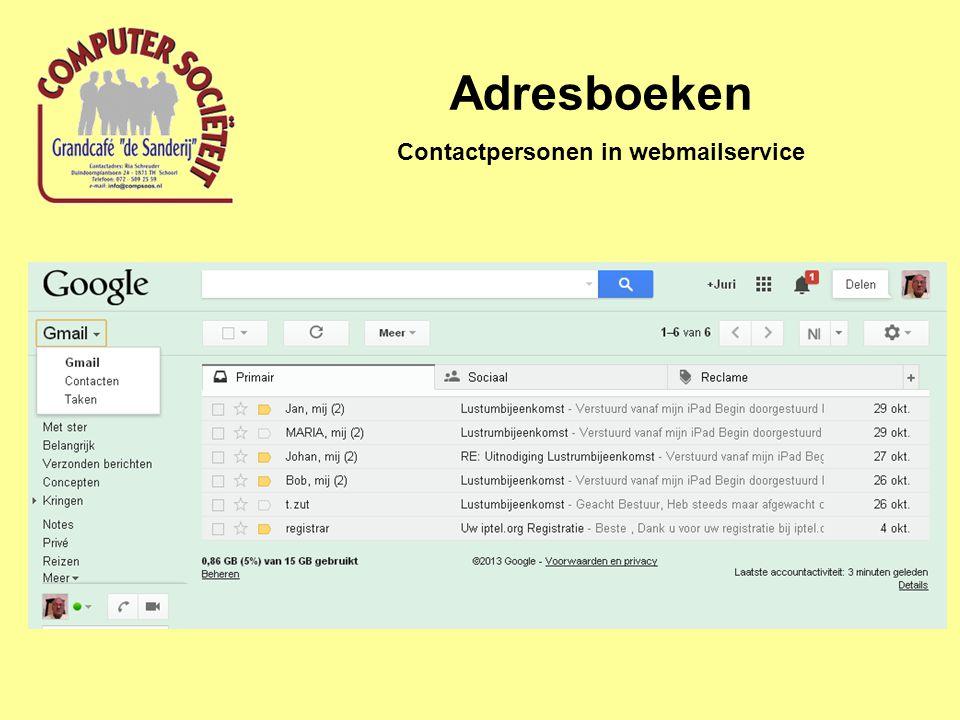 Adresboeken Contactpersonen in webmailservice