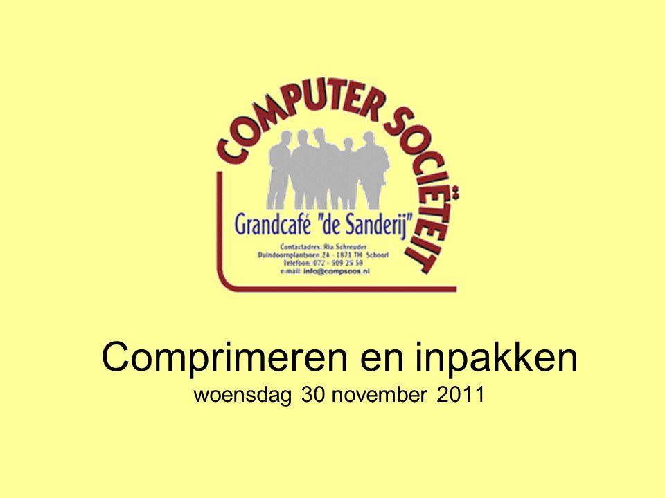 Comprimeren en inpakken woensdag 30 november 2011
