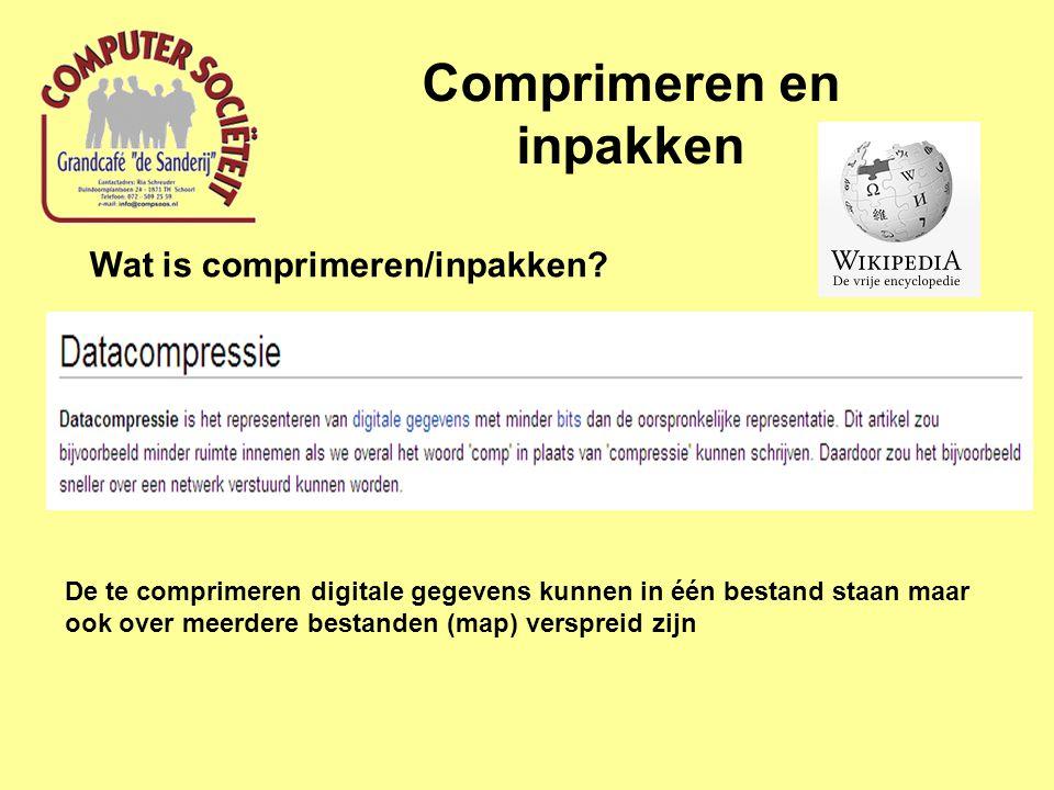 Comprimeren en inpakken Wat is comprimeren/inpakken.
