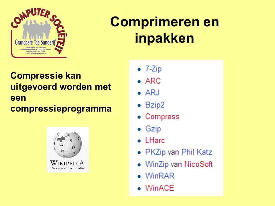 Comprimeren en inpakken Compressie kan uitgevoerd worden met een compressieprogramma