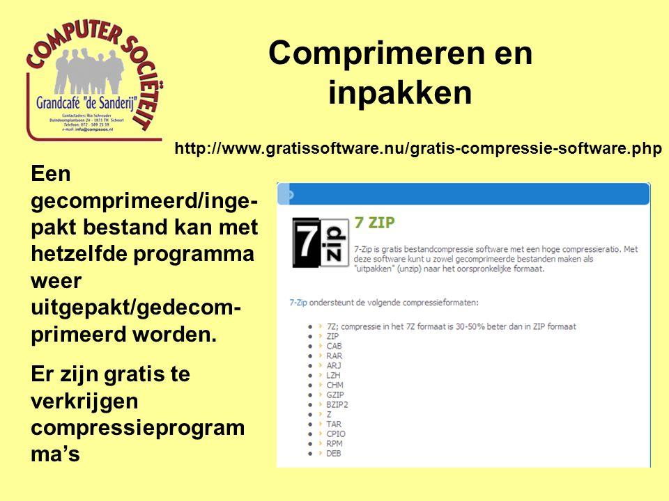 Comprimeren en inpakken Een gecomprimeerd/inge- pakt bestand kan met hetzelfde programma weer uitgepakt/gedecom- primeerd worden.