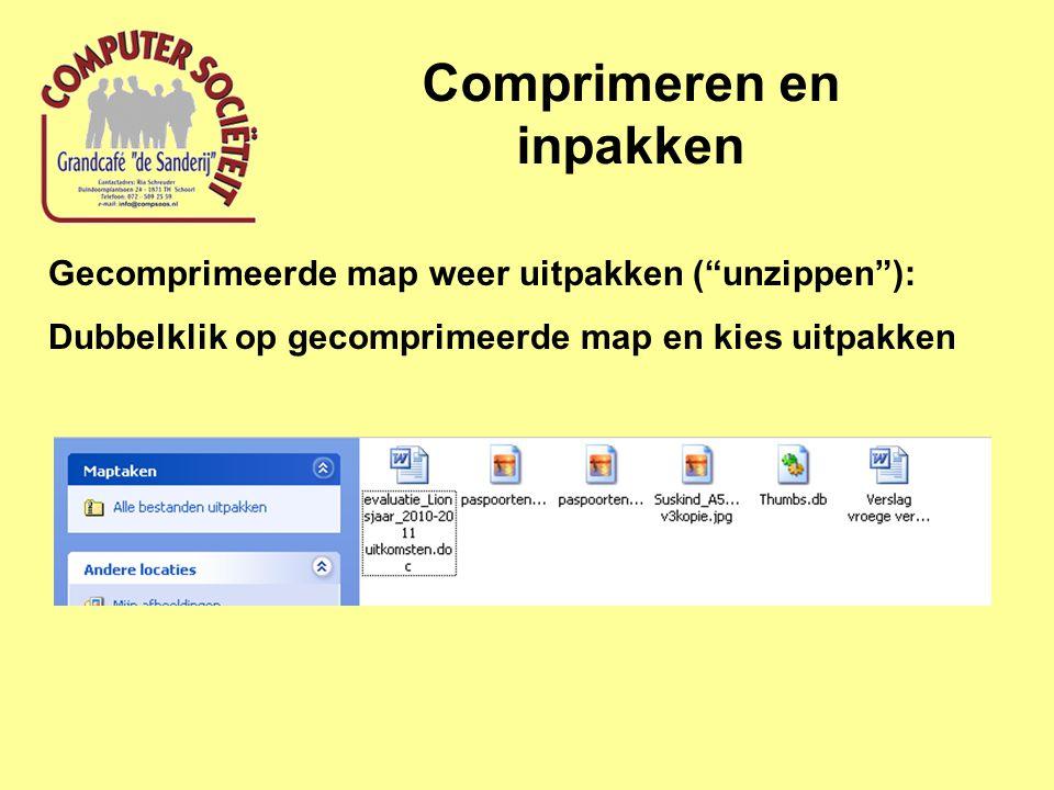 Comprimeren en inpakken Gecomprimeerde map weer uitpakken ( unzippen ): Dubbelklik op gecomprimeerde map en kies uitpakken