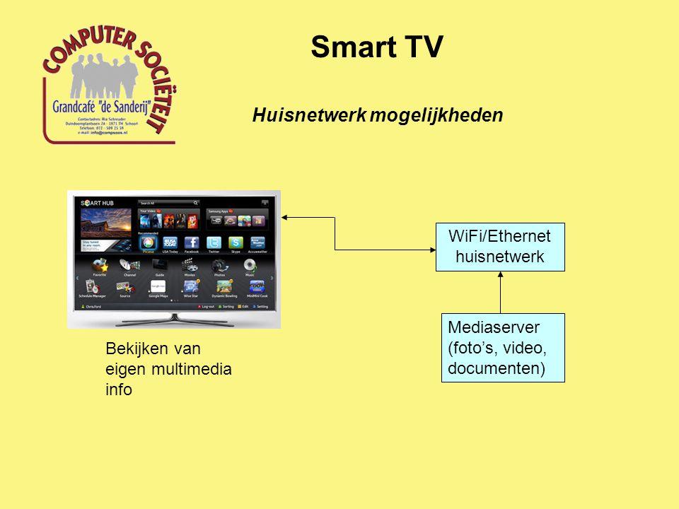 Huisnetwerk mogelijkheden Smart TV WiFi/Ethernet huisnetwerk Mediaserver (foto's, video, documenten) Bekijken van eigen multimedia info