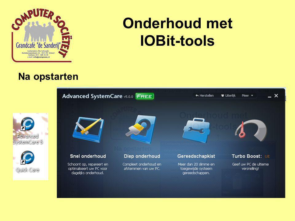 Onderhoud met IOBit-tools Na opstarten