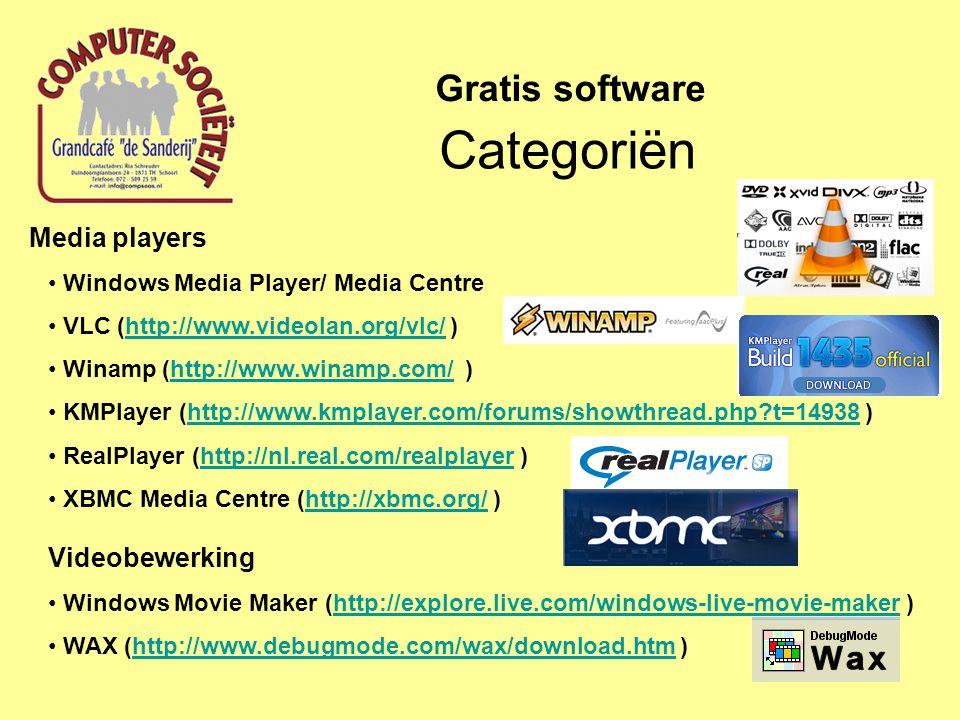 Media players Windows Media Player/ Media Centre VLC (http://www.videolan.org/vlc/ )http://www.videolan.org/vlc/ Winamp (http://www.winamp.com/ )http://www.winamp.com/ KMPlayer (http://www.kmplayer.com/forums/showthread.php?t=14938 )http://www.kmplayer.com/forums/showthread.php?t=14938 RealPlayer (http://nl.real.com/realplayer )http://nl.real.com/realplayer XBMC Media Centre (http://xbmc.org/ ) Videobewerkinghttp://xbmc.org/ Windows Movie Maker (http://explore.live.com/windows-live-movie-maker )http://explore.live.com/windows-live-movie-maker WAX (http://www.debugmode.com/wax/download.htm )http://www.debugmode.com/wax/download.htm Categoriën Gratis software