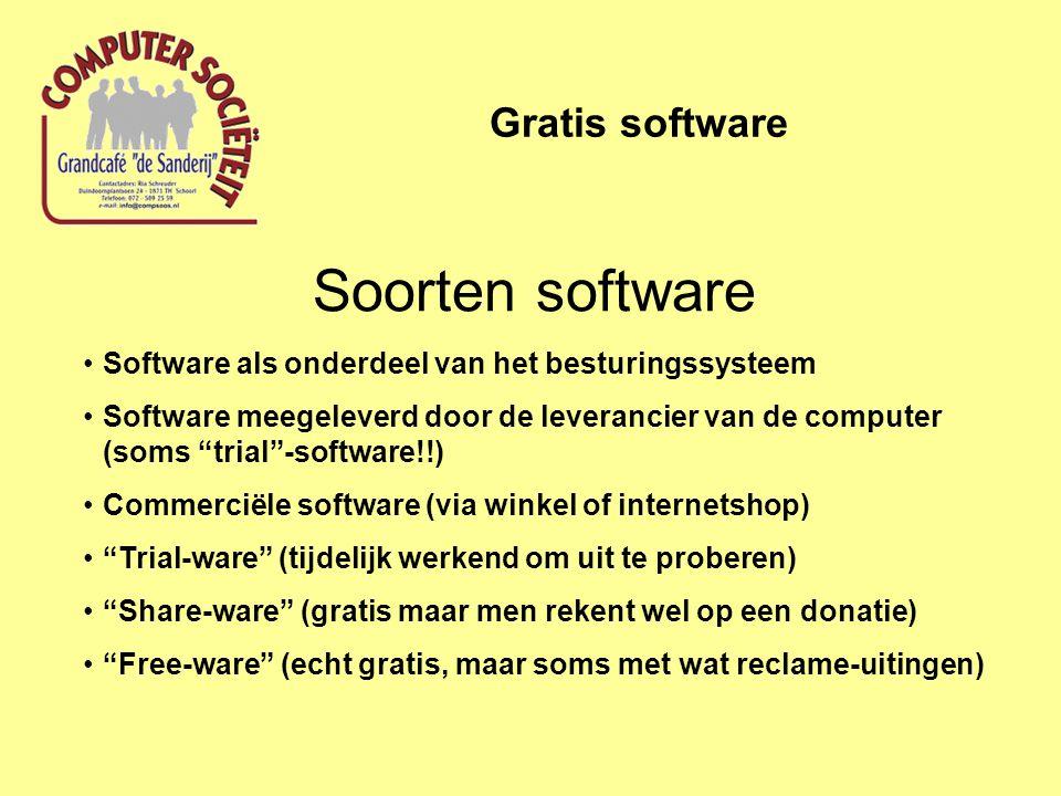 """Soorten software Gratis software Software als onderdeel van het besturingssysteem Software meegeleverd door de leverancier van de computer (soms """"tria"""