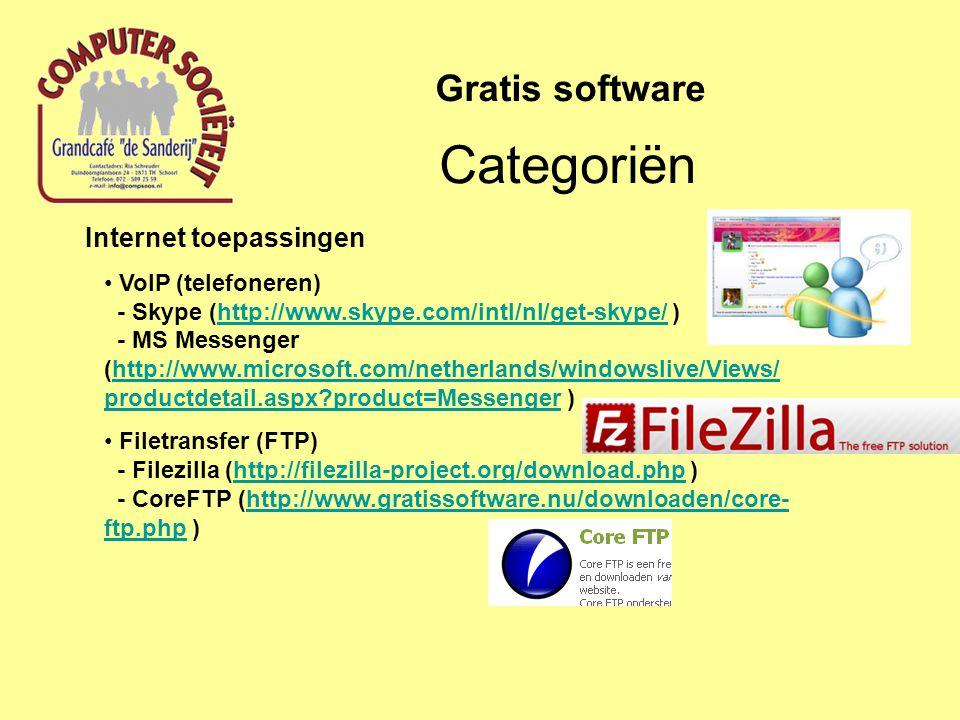 Internet toepassingen Website design - NVU (http://www.nederlandstaligesoftware.nl/softwareprogrammas/nvu.html ) - SeaMonkey (http://www.seamonkey-project.org/ ) - ysitebuilder (http://www.filecluster.com/downloads/Yahoo-SiteBuilder.html ) - WordPress (http://wordpress.org/ )http://www.nederlandstaligesoftware.nl/softwareprogrammas/nvu.htmlhttp://www.seamonkey-project.org/http://www.filecluster.com/downloads/Yahoo-SiteBuilder.htmlhttp://wordpress.org/ Categoriën Gratis software