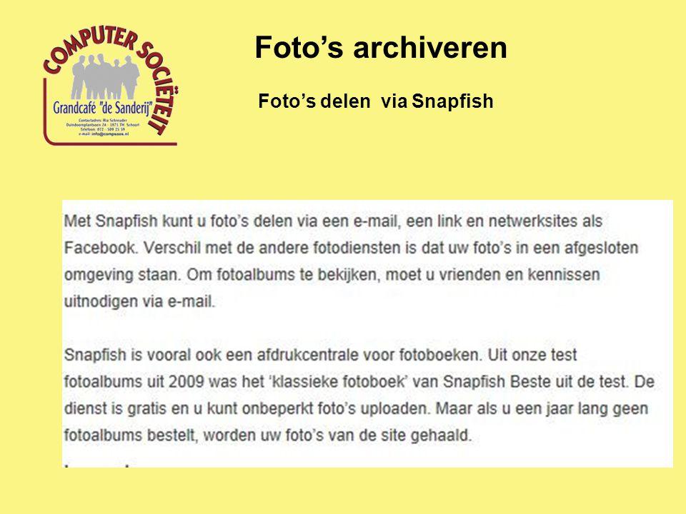 Foto's delen via Snapfish Foto's archiveren