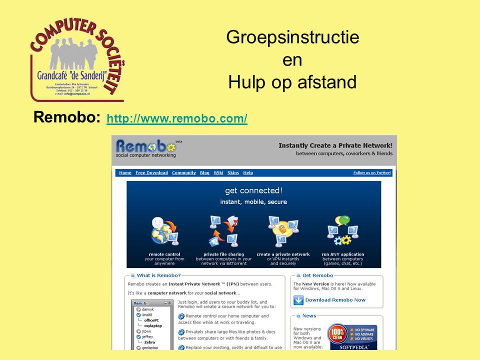 Groepsinstructie en Hulp op afstand Remobo: http://www.remobo.com/ http://www.remobo.com/