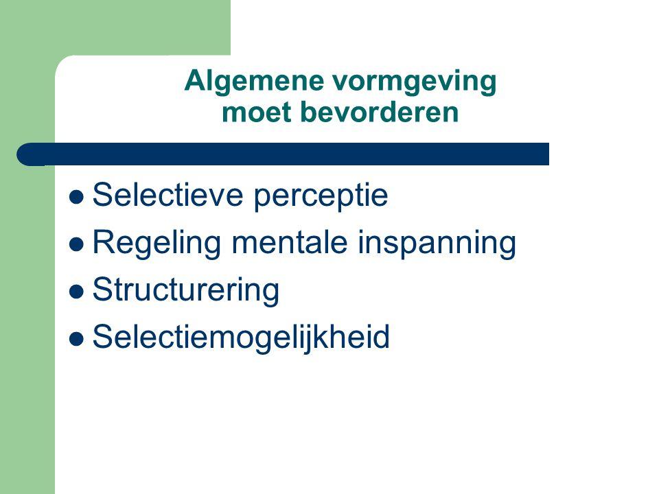 Algemene vormgeving moet bevorderen Selectieve perceptie Regeling mentale inspanning Structurering Selectiemogelijkheid