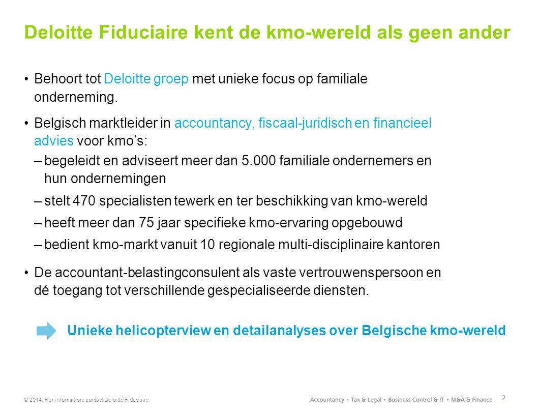 © 2014. For information, contact Deloitte Fiduciaire Deloitte Fiduciaire kent de kmo-wereld als geen ander 2 Behoort tot Deloitte groep met unieke foc