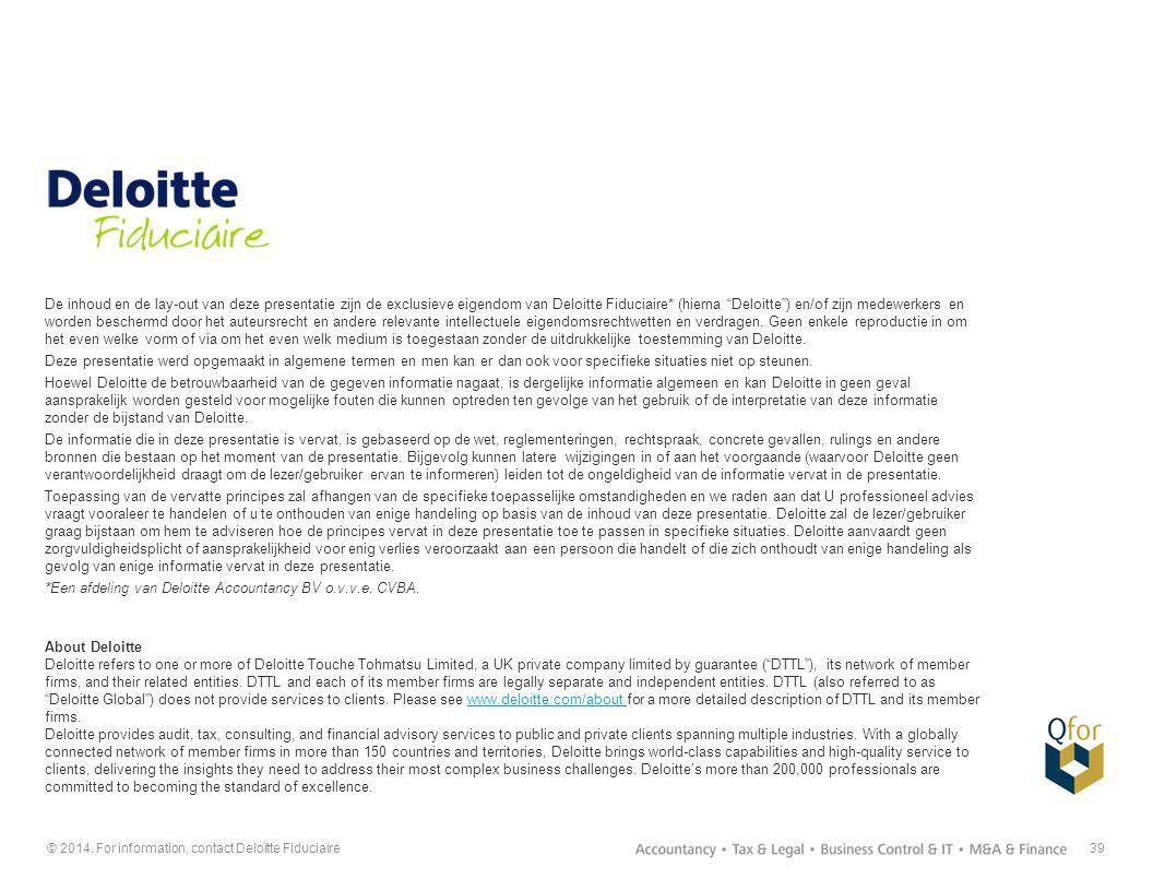 """39 De inhoud en de lay-out van deze presentatie zijn de exclusieve eigendom van Deloitte Fiduciaire* (hierna """"Deloitte"""") en/of zijn medewerkers en wor"""