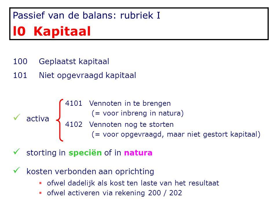 Passief van de balans: rubriek I l0 Kapitaal 100Geplaatst kapitaal 101Niet opgevraagd kapitaal activa 4101Vennoten in te brengen (= voor inbreng in na