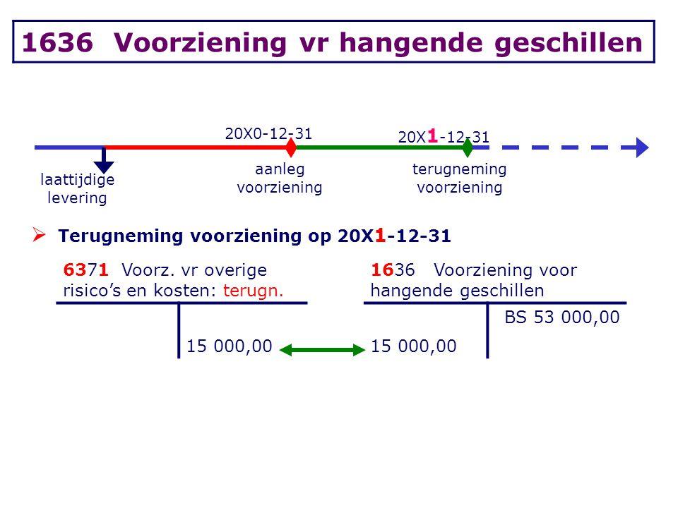 20X0-12-31 20X 1 -12-31 laattijdige levering aanleg voorziening terugneming voorziening  Terugneming voorziening op 20X 1 -12-31 6371 Voorz. vr overi