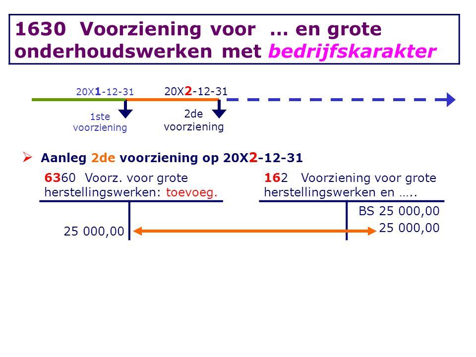 20X 1 -12-31 20X 2 -12-31 1ste voorziening 2de voorziening  Aanleg 2de voorziening op 20X 2 -12-31 6360 Voorz. voor grote herstellingswerken: toevoeg