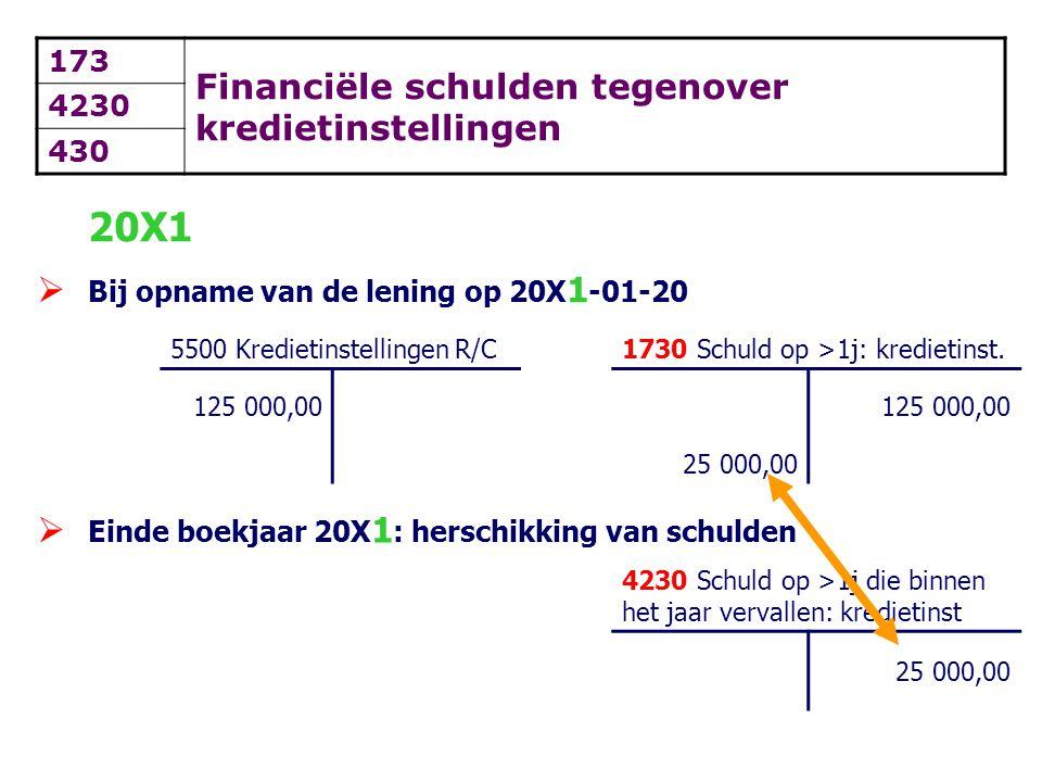 173 Financiële schulden tegenover kredietinstellingen 4230 430 20X1  Bij opname van de lening op 20X 1 -01-20 5500 Kredietinstellingen R/C1730 Schuld