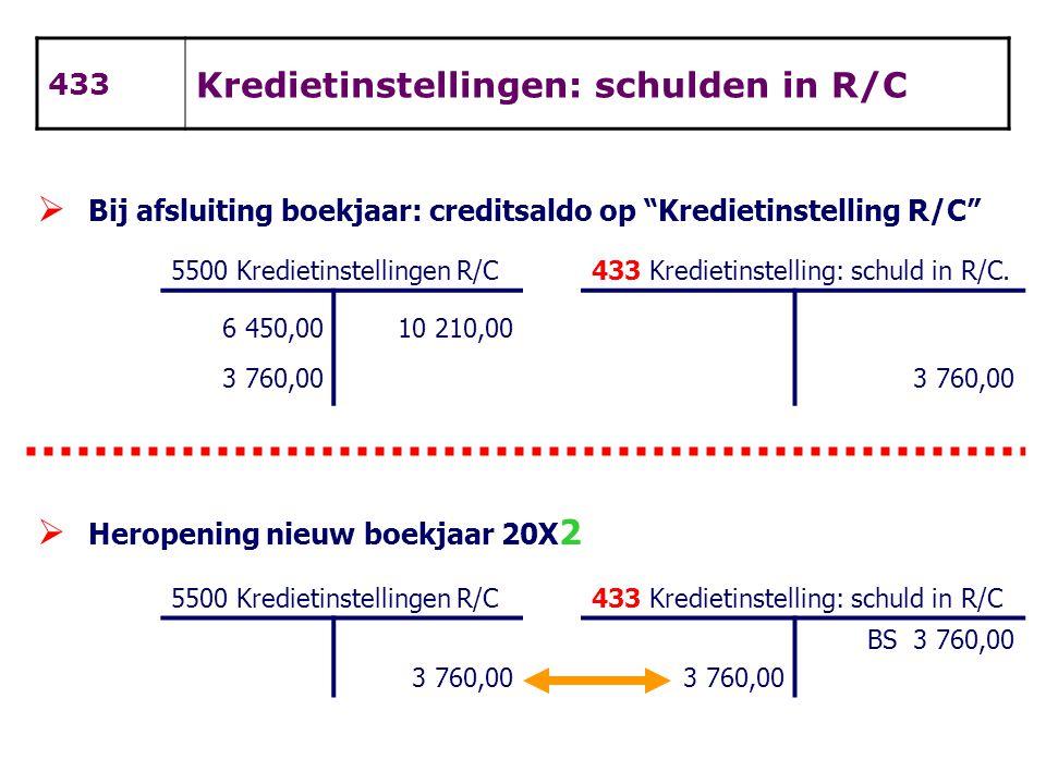 """433 Kredietinstellingen: schulden in R/C  Bij afsluiting boekjaar: creditsaldo op """"Kredietinstelling R/C"""" 5500 Kredietinstellingen R/C433 Kredietinst"""