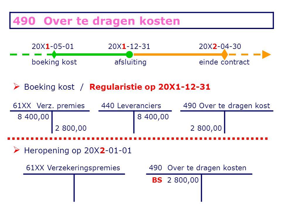 490 Over te dragen kosten 20X1-05-0120X1-12-3120X2-04-30 boeking kostafsluitingeinde contract  Boeking kost / Regularistie op 20X1-12-31 61XX Verz. p