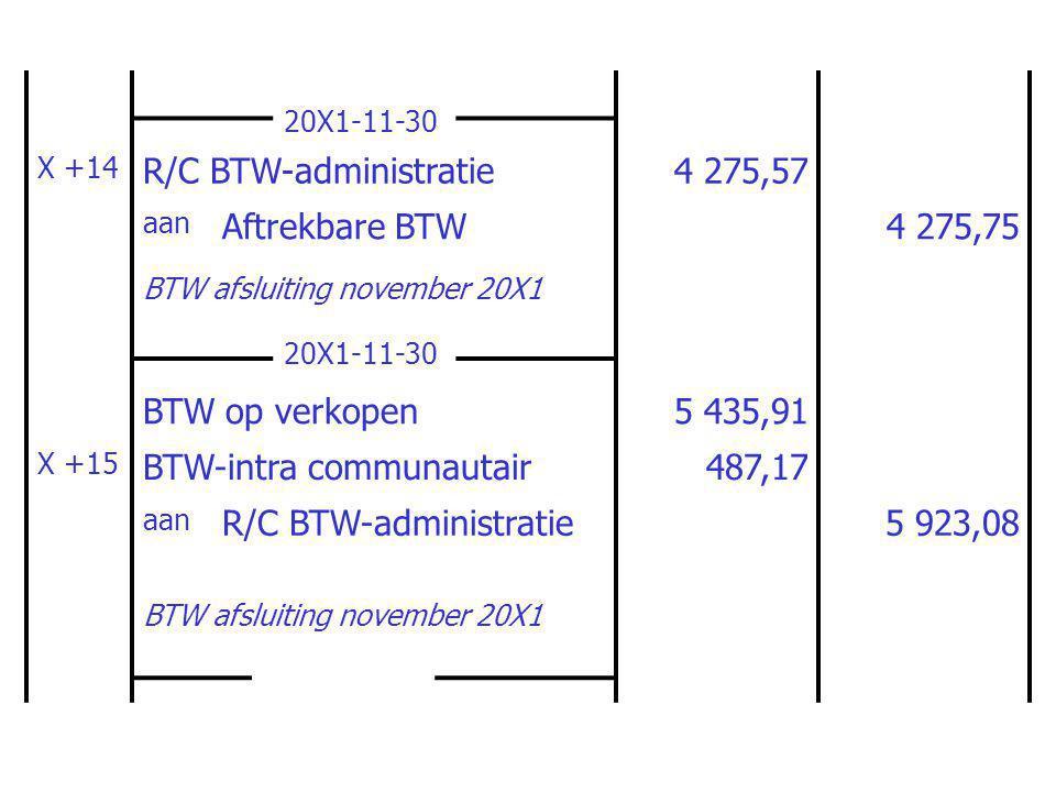 20X1-11-30 X +14 R/C BTW-administratie4 275,57 aan Aftrekbare BTW4 275,75 BTW afsluiting november 20X1 20X1-11-30 BTW op verkopen5 435,91 X +15 BTW-intra communautair487,17 aan R/C BTW-administratie5 923,08 BTW afsluiting november 20X1