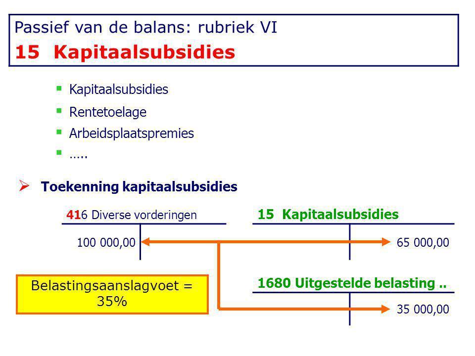 Passief van de balans: rubriek VI 15 Kapitaalsubsidies  Kapitaalsubsidies  Rentetoelage  Arbeidsplaatspremies  …..  Toekenning kapitaalsubsidies