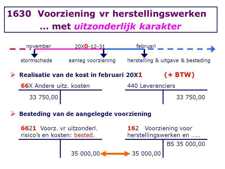 november 20X 0 -12-31 februari stormschadeaanleg voorzieningherstelling & uitgave & besteding  Realisatie van de kost in februari 20X 1 (+ BTW) 66X A