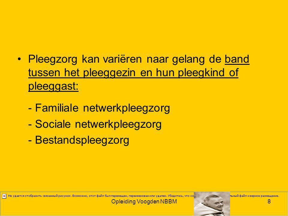 Opleiding Voogden NBBM8 Pleegzorg kan variëren naar gelang de band tussen het pleeggezin en hun pleegkind of pleeggast: - Familiale netwerkpleegzorg - Sociale netwerkpleegzorg - Bestandspleegzorg