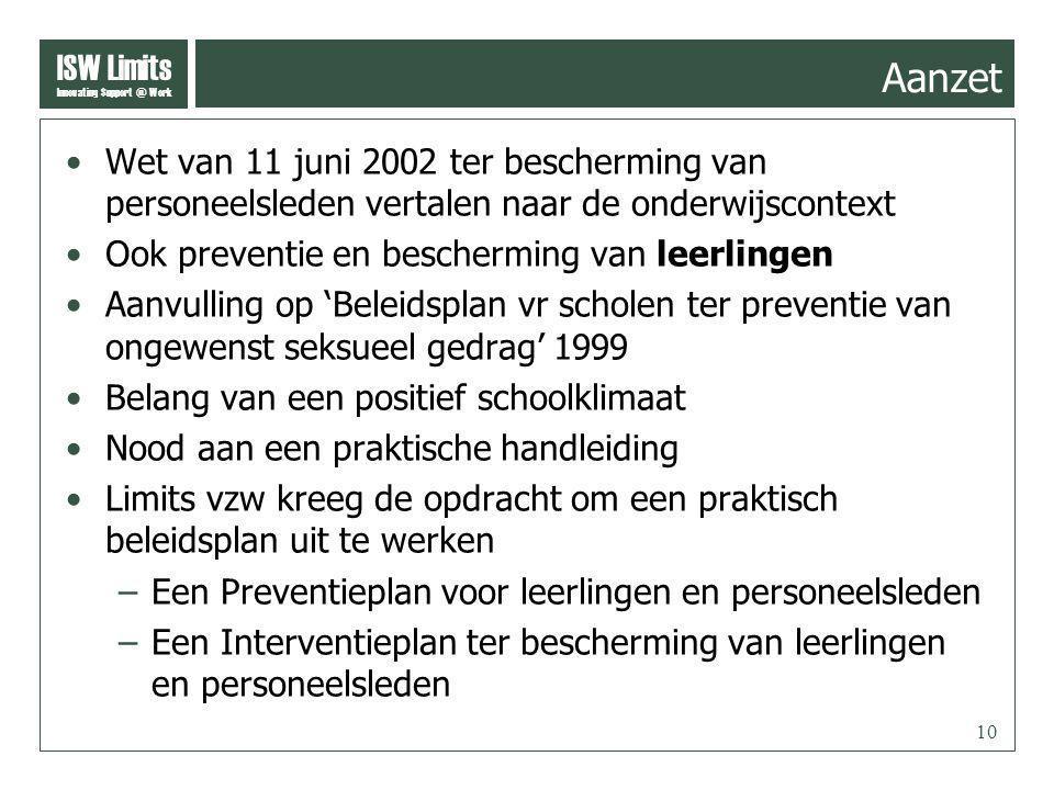 ISW Limits Innovating Support @ Work 10 Aanzet Wet van 11 juni 2002 ter bescherming van personeelsleden vertalen naar de onderwijscontext Ook preventie en bescherming van leerlingen Aanvulling op 'Beleidsplan vr scholen ter preventie van ongewenst seksueel gedrag' 1999 Belang van een positief schoolklimaat Nood aan een praktische handleiding Limits vzw kreeg de opdracht om een praktisch beleidsplan uit te werken –Een Preventieplan voor leerlingen en personeelsleden –Een Interventieplan ter bescherming van leerlingen en personeelsleden