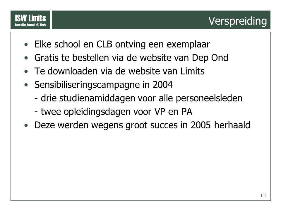 ISW Limits Innovating Support @ Work 12 Verspreiding Elke school en CLB ontving een exemplaar Gratis te bestellen via de website van Dep Ond Te downlo