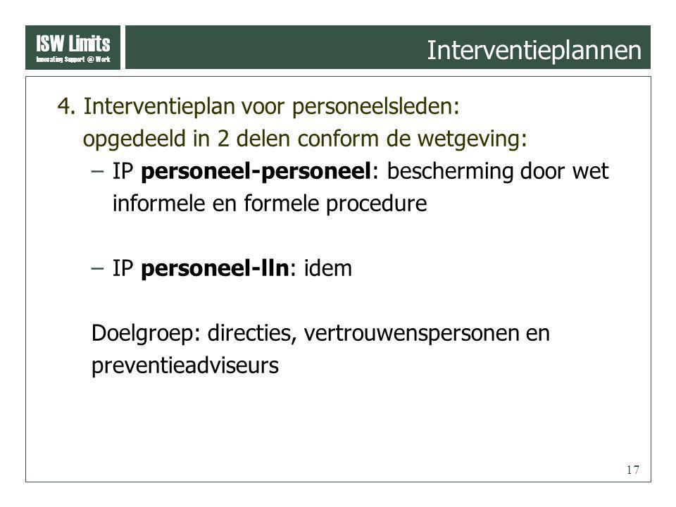 ISW Limits Innovating Support @ Work 17 4. Interventieplan voor personeelsleden: opgedeeld in 2 delen conform de wetgeving: –IP personeel-personeel: b