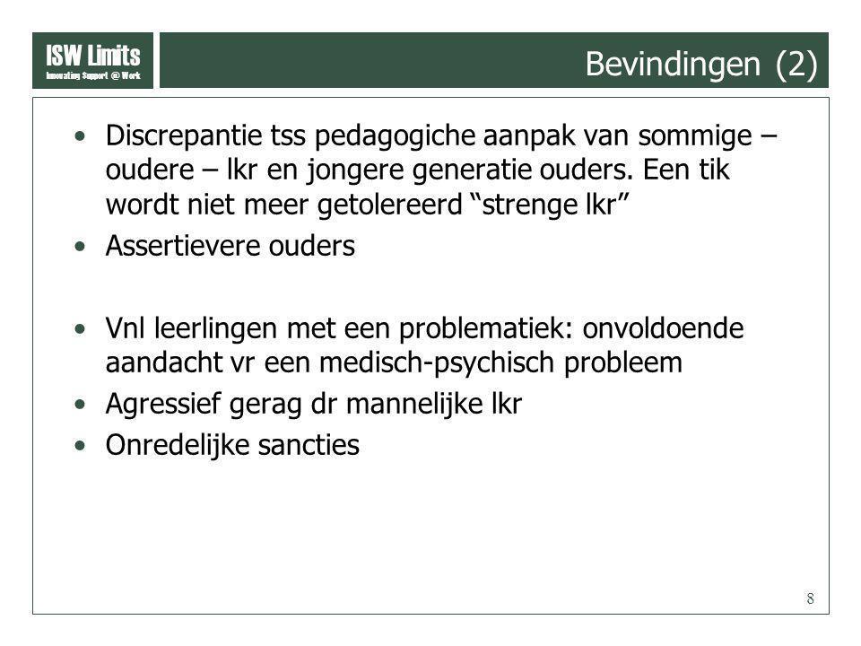 ISW Limits Innovating Support @ Work 8 Bevindingen (2) Discrepantie tss pedagogiche aanpak van sommige – oudere – lkr en jongere generatie ouders.