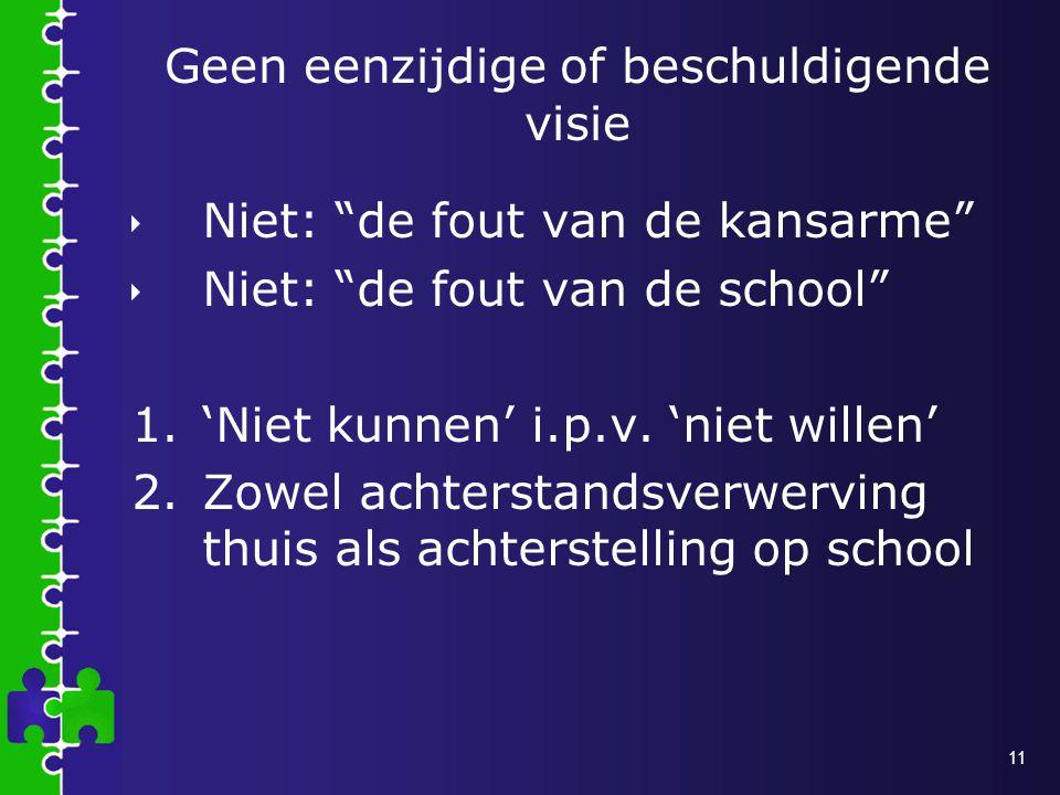 11 Geen eenzijdige of beschuldigende visie  Niet: de fout van de kansarme  Niet: de fout van de school 1.'Niet kunnen' i.p.v.