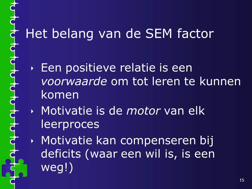 15 Het belang van de SEM factor  Een positieve relatie is een voorwaarde om tot leren te kunnen komen  Motivatie is de motor van elk leerproces  Motivatie kan compenseren bij deficits (waar een wil is, is een weg!)