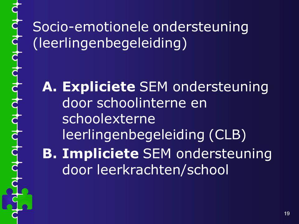 19 Socio-emotionele ondersteuning (leerlingenbegeleiding) A.Expliciete SEM ondersteuning door schoolinterne en schoolexterne leerlingenbegeleiding (CLB) B.Impliciete SEM ondersteuning door leerkrachten/school