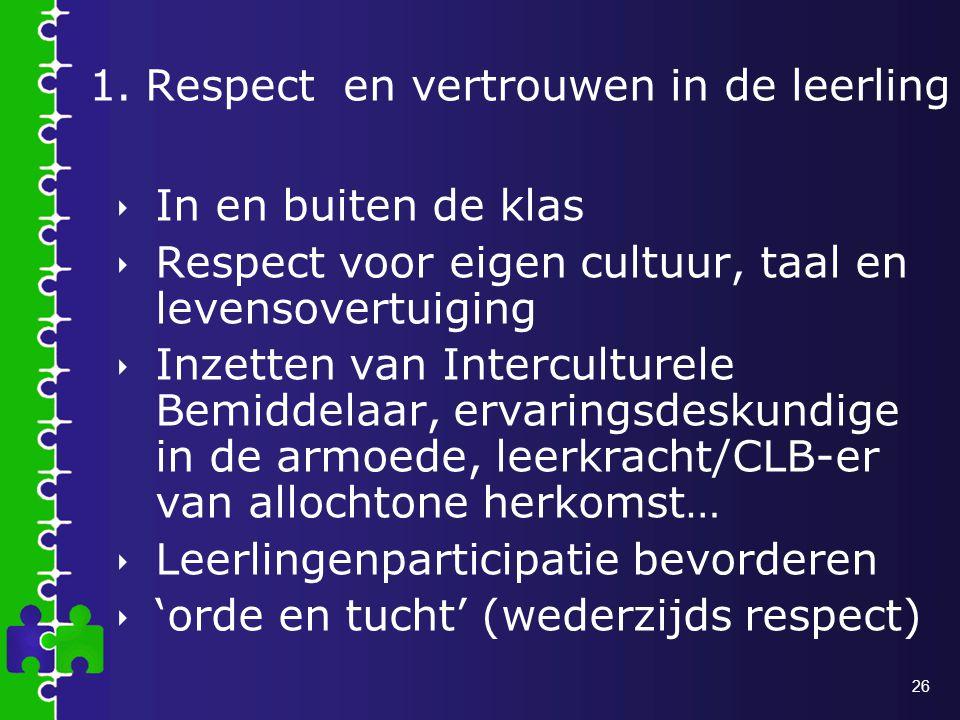 26 1.Respect en vertrouwen in de leerling  In en buiten de klas  Respect voor eigen cultuur, taal en levensovertuiging  Inzetten van Interculturele Bemiddelaar, ervaringsdeskundige in de armoede, leerkracht/CLB-er van allochtone herkomst…  Leerlingenparticipatie bevorderen  'orde en tucht' (wederzijds respect)