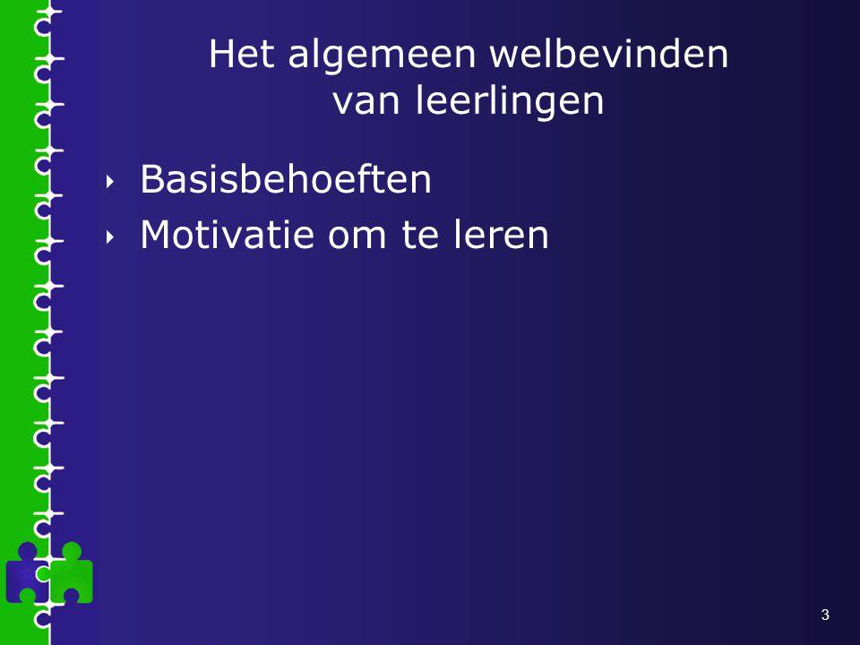 3 Het algemeen welbevinden van leerlingen  Basisbehoeften  Motivatie om te leren