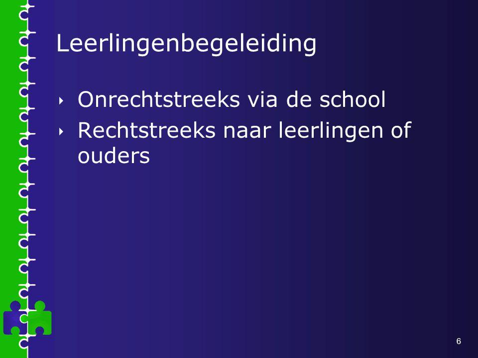 6 Leerlingenbegeleiding  Onrechtstreeks via de school  Rechtstreeks naar leerlingen of ouders