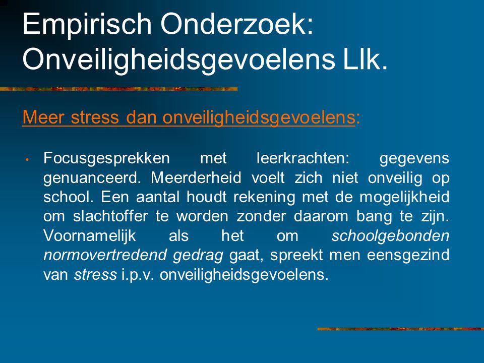 Empirisch Onderzoek: Onveiligheidsgevoelens Llk. Meer stress dan onveiligheidsgevoelens: Focusgesprekken met leerkrachten: gegevens genuanceerd. Meerd