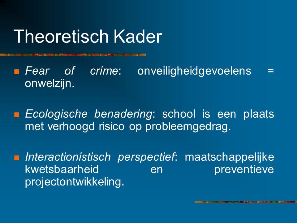 Theoretisch Kader Fear of crime: onveiligheidgevoelens = onwelzijn. Ecologische benadering: school is een plaats met verhoogd risico op probleemgedrag