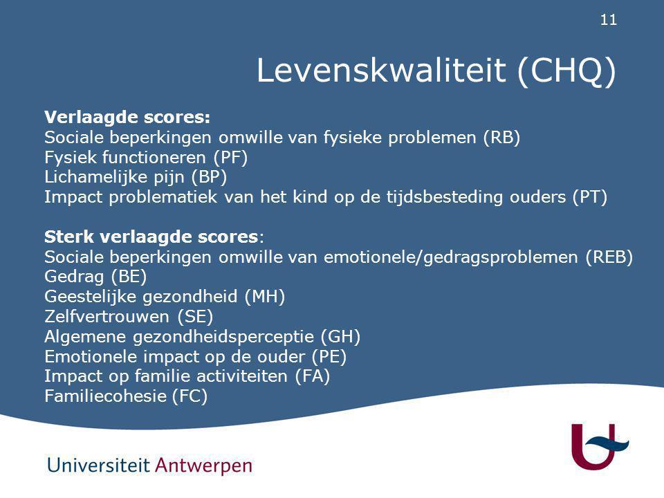 11 Levenskwaliteit (CHQ) Verlaagde scores: Sociale beperkingen omwille van fysieke problemen (RB) Fysiek functioneren (PF) Lichamelijke pijn (BP) Impa