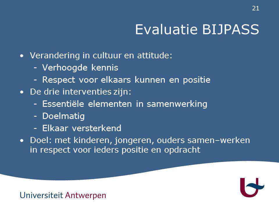 21 Evaluatie BIJPASS Verandering in cultuur en attitude: -Verhoogde kennis -Respect voor elkaars kunnen en positie De drie interventies zijn: -Essenti