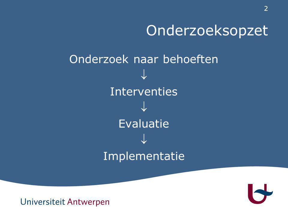 2 Onderzoeksopzet Onderzoek naar behoeften  Interventies  Evaluatie  Implementatie