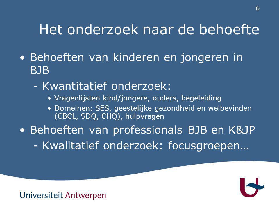 6 Het onderzoek naar de behoefte Behoeften van kinderen en jongeren in BJB -Kwantitatief onderzoek: Vragenlijsten kind/jongere, ouders, begeleiding Do