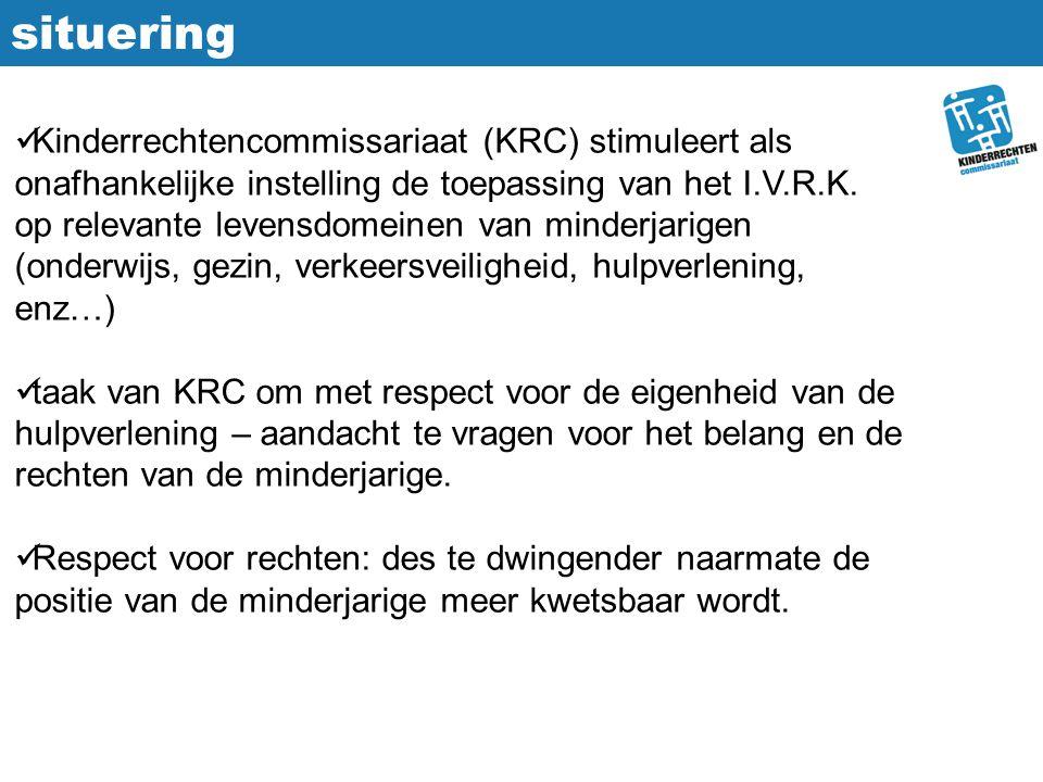 situering Kinderrechtencommissariaat (KRC) stimuleert als onafhankelijke instelling de toepassing van het I.V.R.K. op relevante levensdomeinen van min